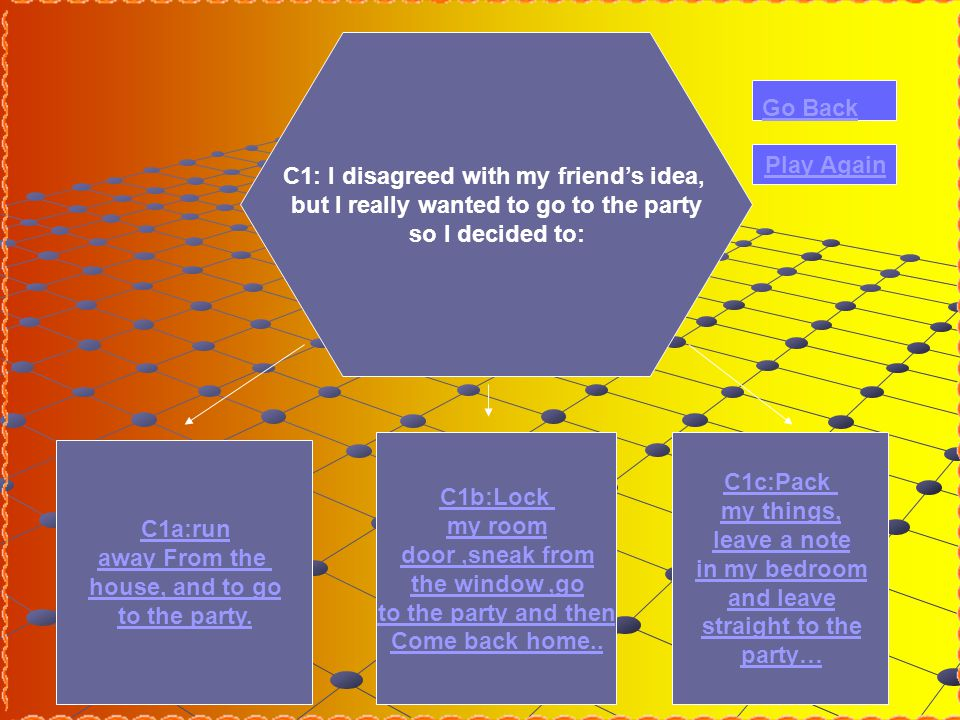 C1: I disagreed with my friend's idea, but I really wanted to go to the party so I decided to: C1a:run away From the house, and to go to the party.