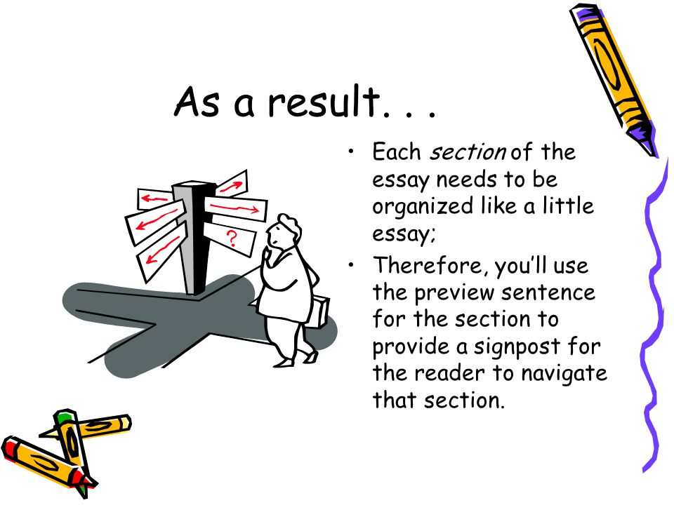 As a result... Each section of the essay needs to be organized like a little essay; Therefore, you'll use the preview sentence for the section to prov