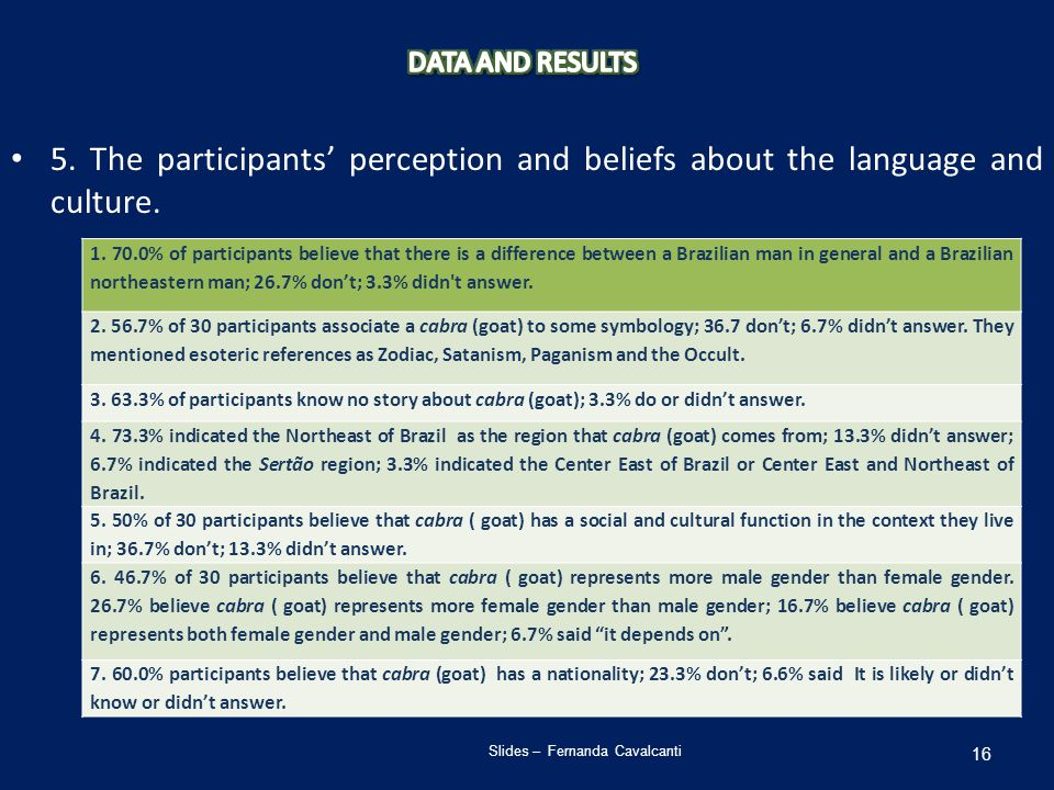 5. The participants' perception and beliefs about the language and culture.