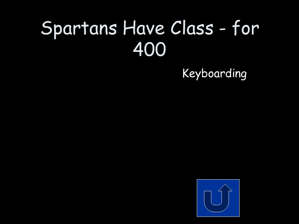 Spartans Have Class - for 400 When you think about it, it's really mostly about 1's and 0's. Remember to phrase your answer in the form of a question!