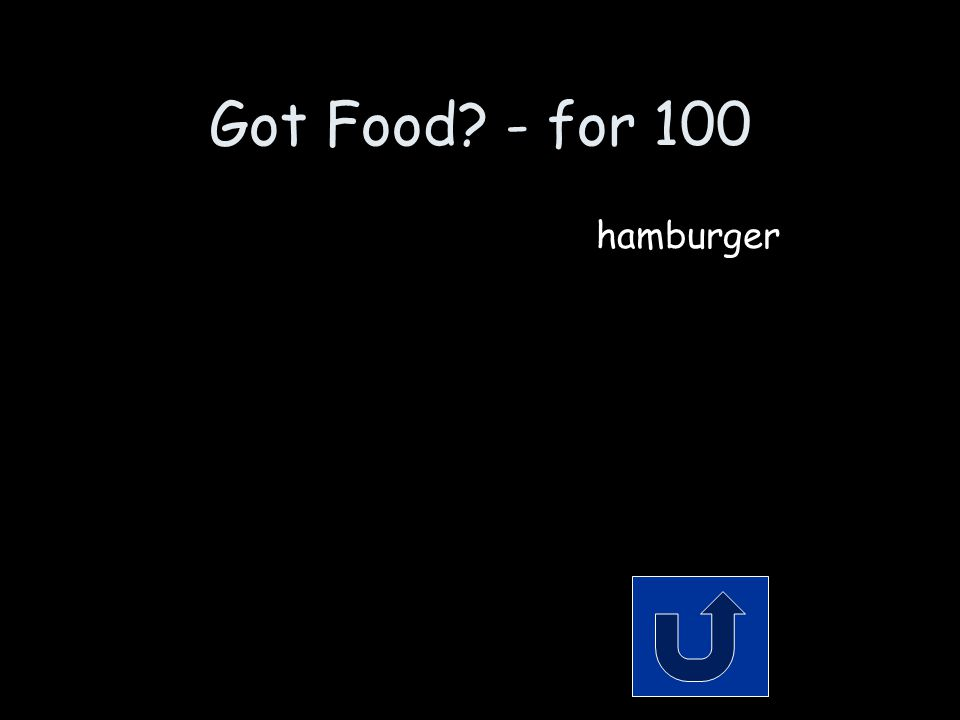 Got Food? - for 100 It's got a bun, a meat patty, and some cheese and ketchup. Remember to phrase your answer in the form of a question!