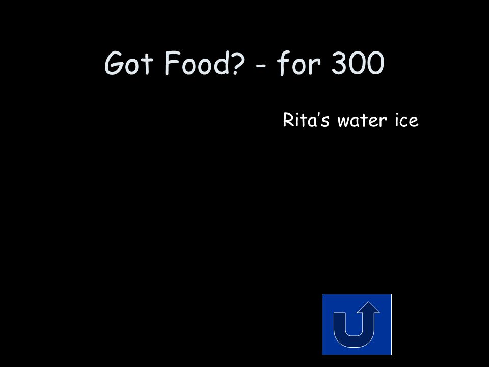 Got Food? - for 300 It's icy, it's flavored, and where you get it has a girl's name. Remember to phrase your answer in the form of a question!