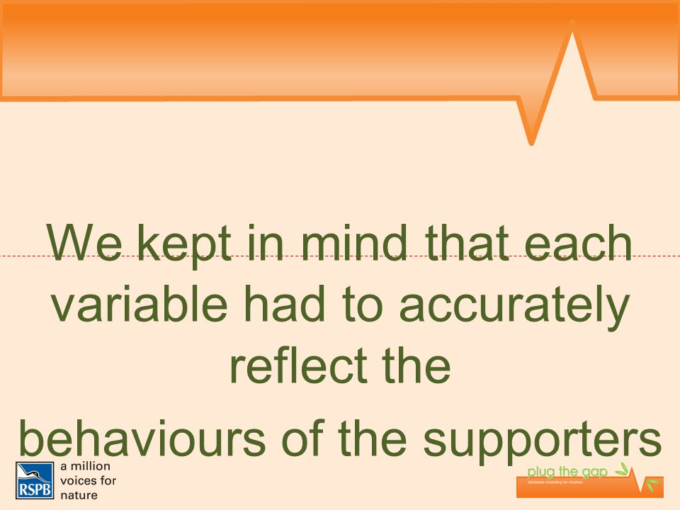 We kept in mind that each variable had to accurately reflect the behaviours of the supporters