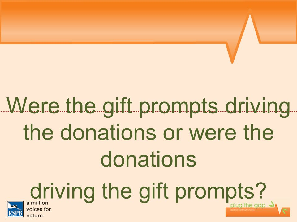 Were the gift prompts driving the donations or were the donations driving the gift prompts?