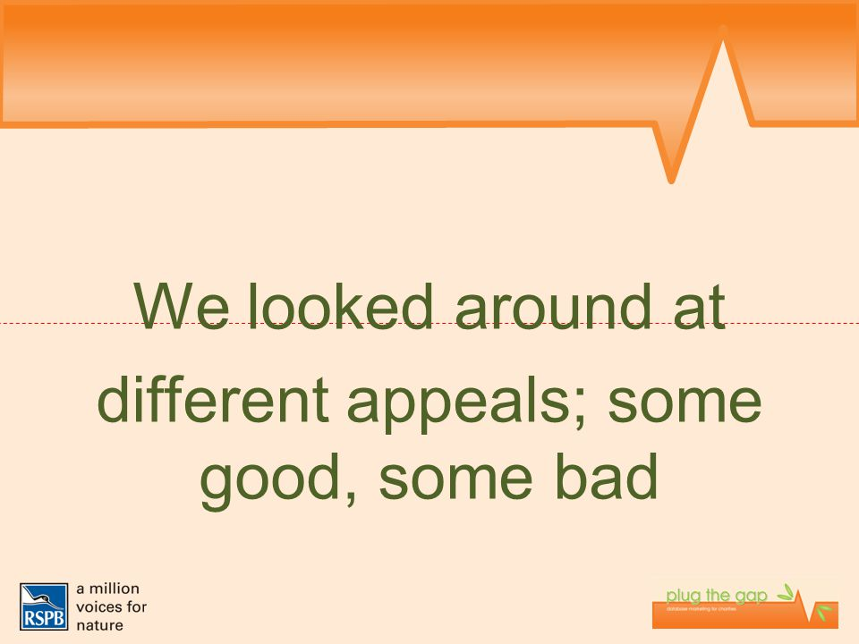 We looked around at different appeals; some good, some bad