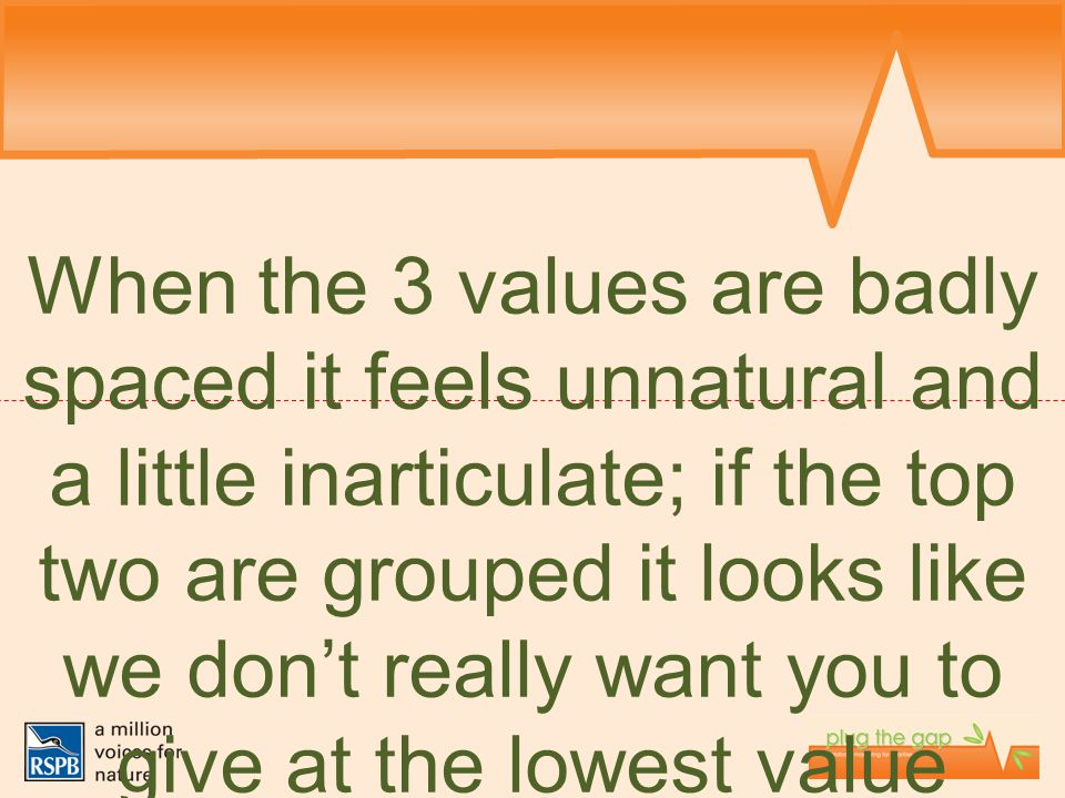 When the 3 values are badly spaced it feels unnatural and a little inarticulate; if the top two are grouped it looks like we don't really want you to