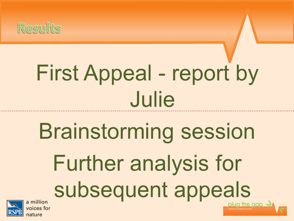 First Appeal - report by Julie Brainstorming session Further analysis for subsequent appeals