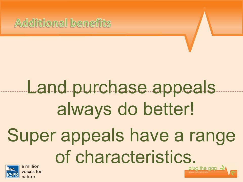 Land purchase appeals always do better! Super appeals have a range of characteristics.