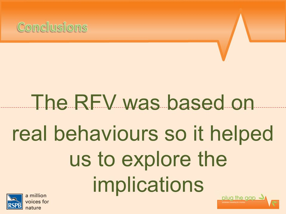 The RFV was based on real behaviours so it helped us to explore the implications