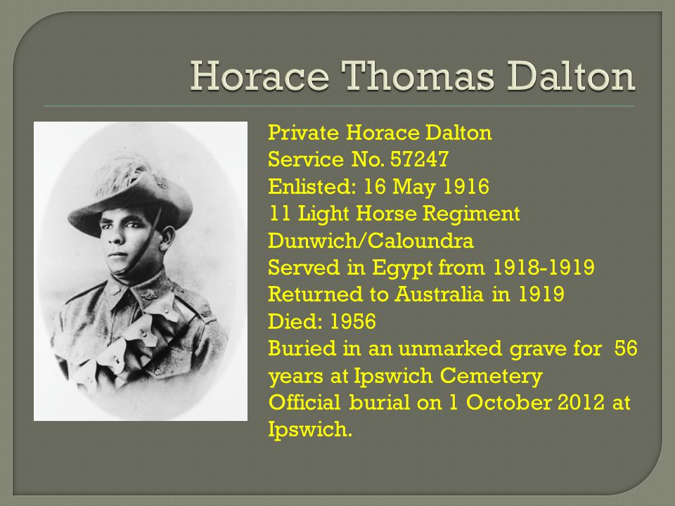 Private Horace Dalton Service No.