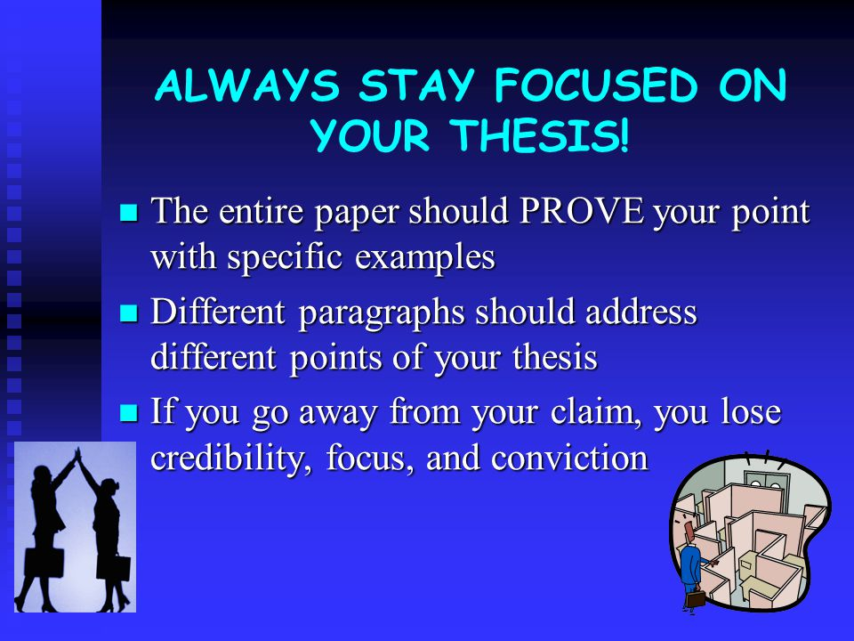 True or False: (Circle one) During the course of your paper, it is okay to move away from the thesis as long as you are discussing other things related to the book.