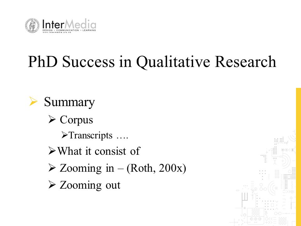 PhD Success in Qualitative Research  Summary  Corpus  Transcripts ….  What it consist of  Zooming in – (Roth, 200x)  Zooming out
