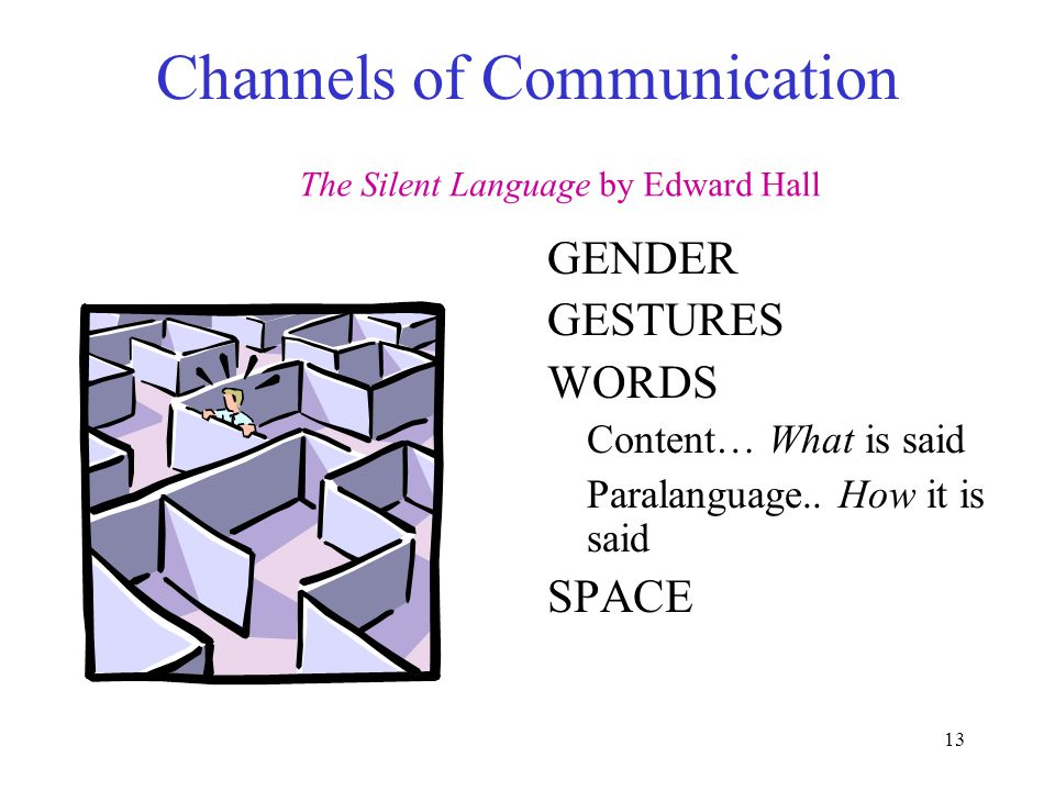 13 Channels of Communication GENDER GESTURES WORDS Content… What is said Paralanguage..