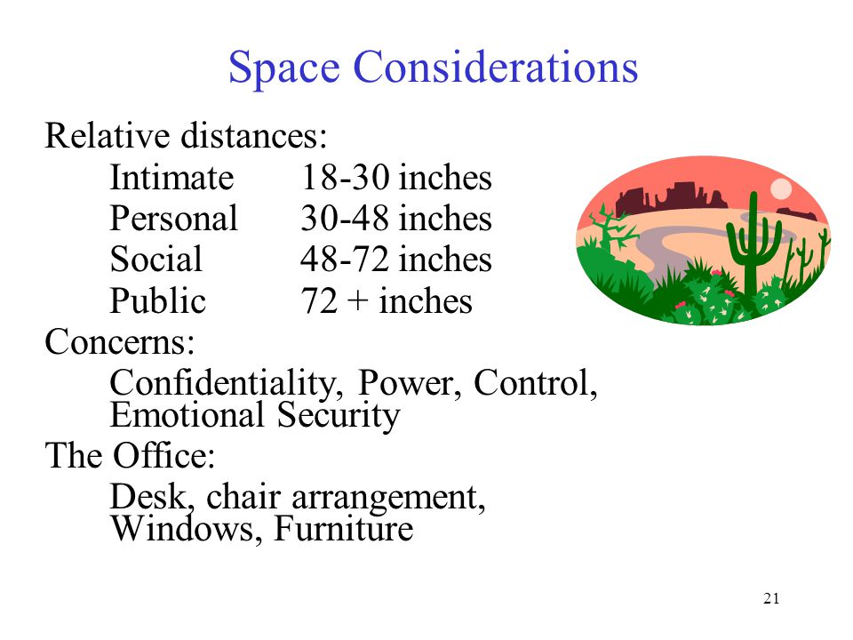 21 Space Considerations Relative distances: Intimate18-30 inches Personal30-48 inches Social48-72 inches Public72 + inches Concerns: Confidentiality, Power, Control, Emotional Security The Office: Desk, chair arrangement, Windows, Furniture