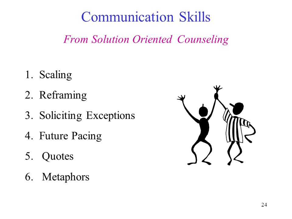 24 Communication Skills From Solution Oriented Counseling 1.