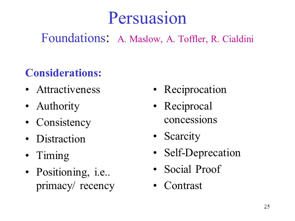 25 Persuasion Foundations : A. Maslow, A. Toffler, R.