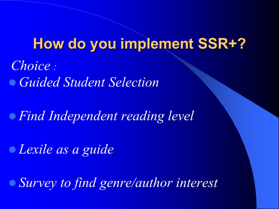 How do you implement SSR+.