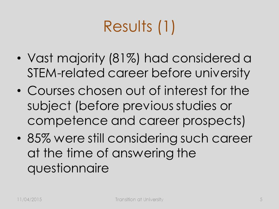 Results (1) Vast majority (81%) had considered a STEM-related career before university Courses chosen out of interest for the subject (before previous studies or competence and career prospects) 85% were still considering such career at the time of answering the questionnaire 11/04/2015Transition at University5