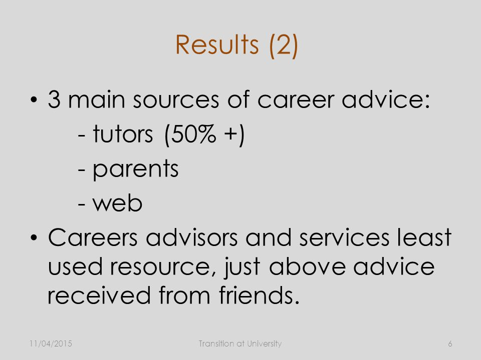 Results (2) 3 main sources of career advice: - tutors (50% +) - parents - web Careers advisors and services least used resource, just above advice received from friends.
