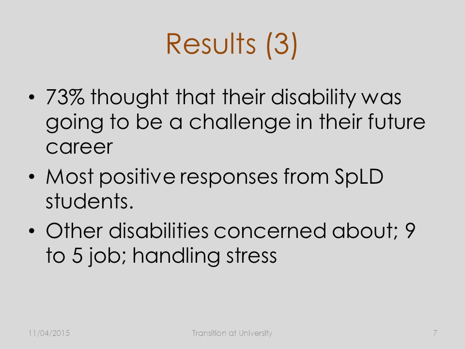 Results (3) 73% thought that their disability was going to be a challenge in their future career Most positive responses from SpLD students.