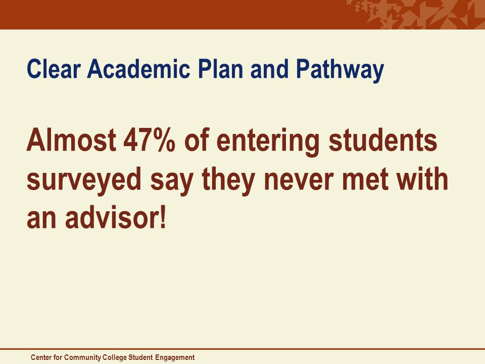 Center for Community College Student Engagement Clear Academic Plan and Pathway Almost 47% of entering students surveyed say they never met with an advisor!