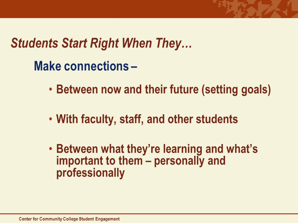 Students Start Right When They… Make connections – Between now and their future (setting goals) With faculty, staff, and other students Between what they're learning and what's important to them – personally and professionally Center for Community College Student Engagement