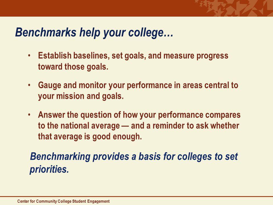 Benchmarks help your college… Establish baselines, set goals, and measure progress toward those goals.