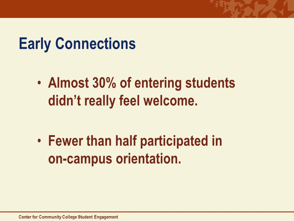 Early Connections Almost 30% of entering students didn't really feel welcome.