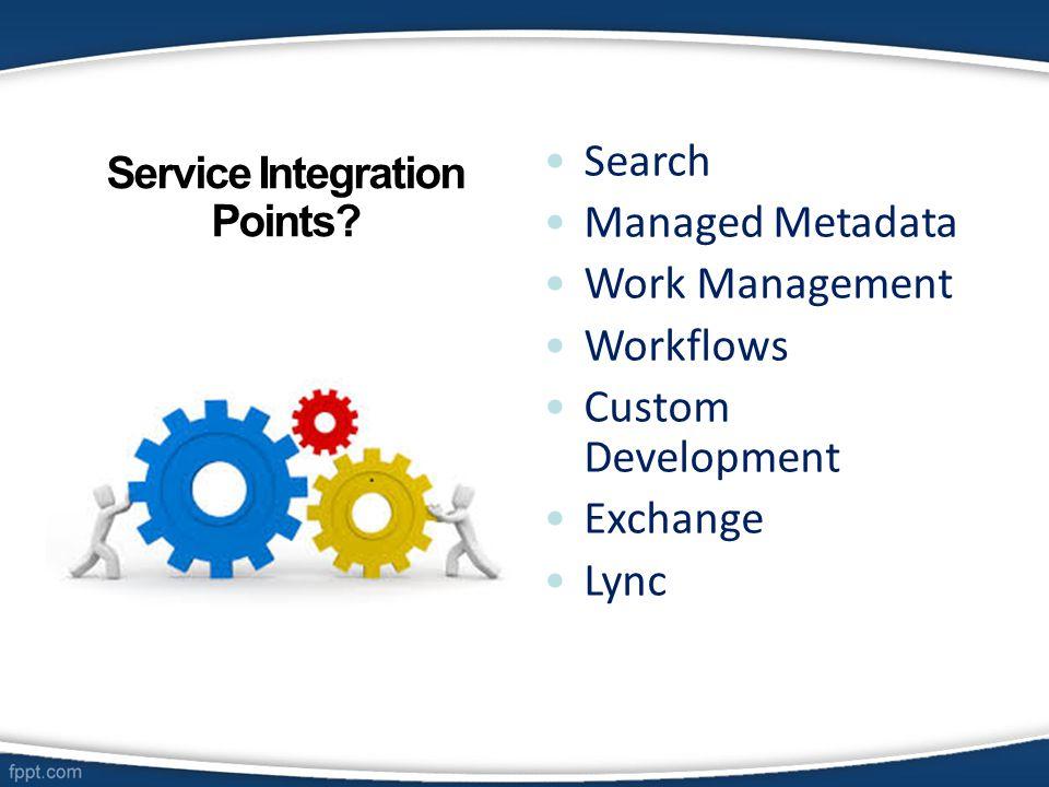 Search Managed Metadata Work Management Workflows Custom Development Exchange Lync