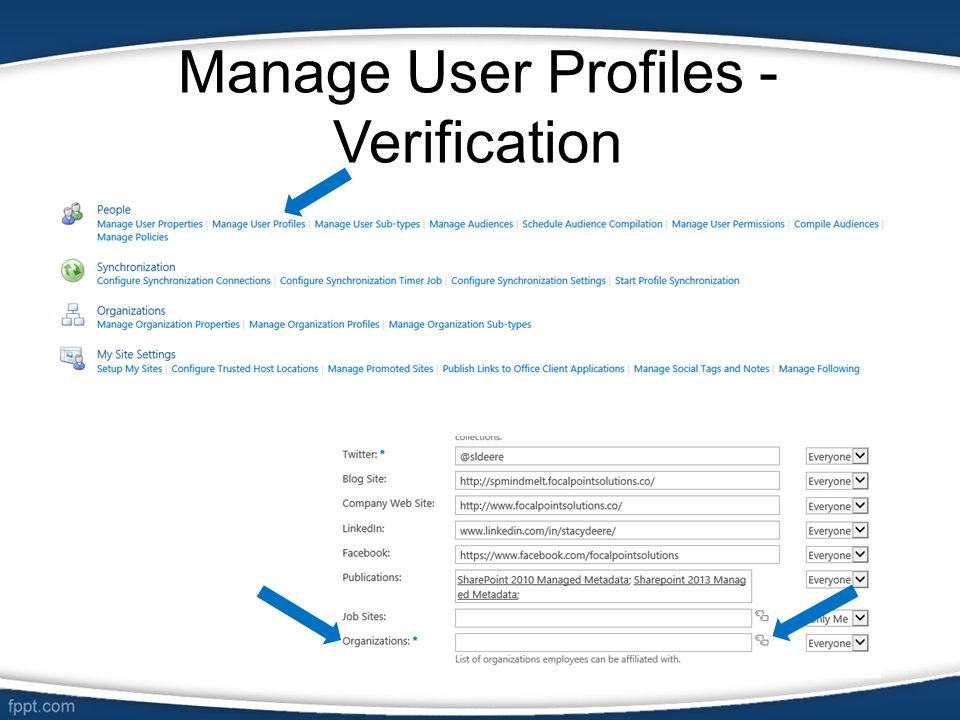 Manage User Profiles - Verification