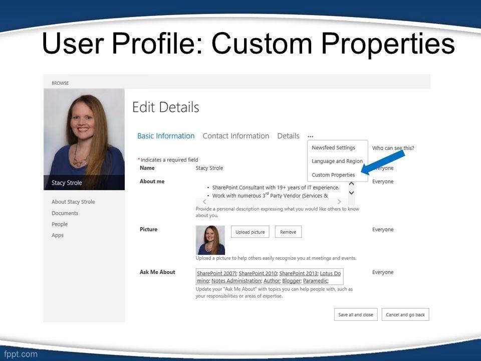 User Profile: Custom Properties