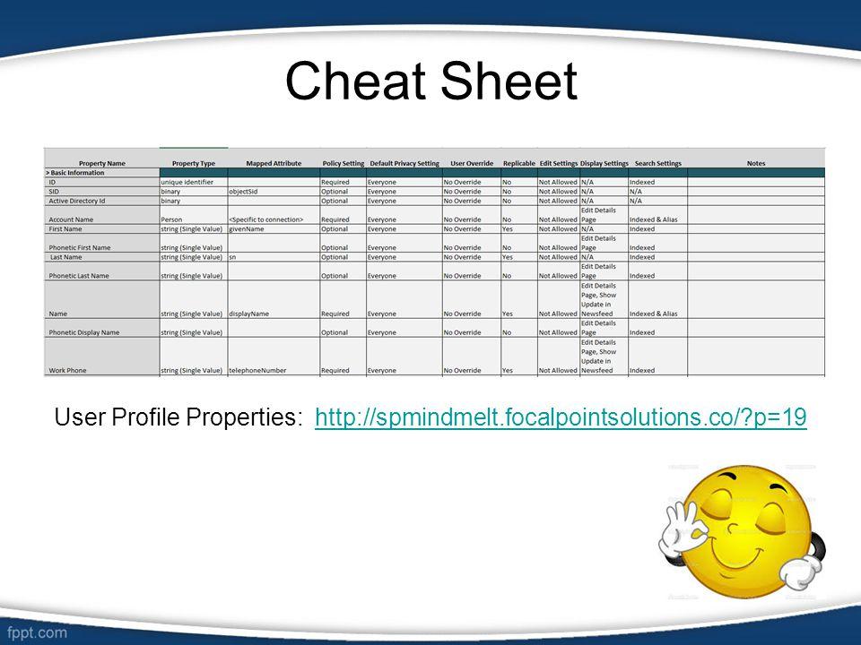Cheat Sheet User Profile Properties: http://spmindmelt.focalpointsolutions.co/?p=19http://spmindmelt.focalpointsolutions.co/?p=19