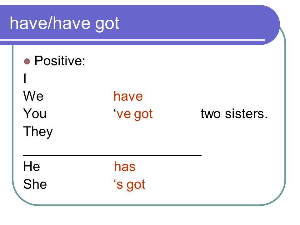 have/have got Positive: I We have You 've got two sisters. They ________________________ He has She 's got