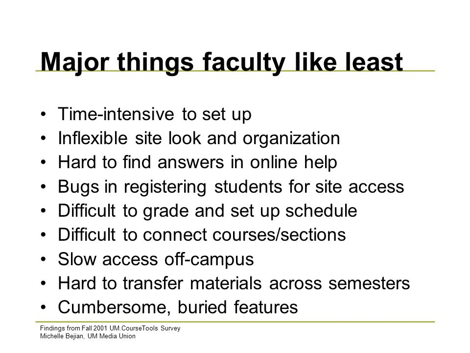 Findings from Fall 2001 UM.CourseTools Survey Michelle Bejian, UM Media Union Major things faculty like least Time-intensive to set up Inflexible site look and organization Hard to find answers in online help Bugs in registering students for site access Difficult to grade and set up schedule Difficult to connect courses/sections Slow access off-campus Hard to transfer materials across semesters Cumbersome, buried features