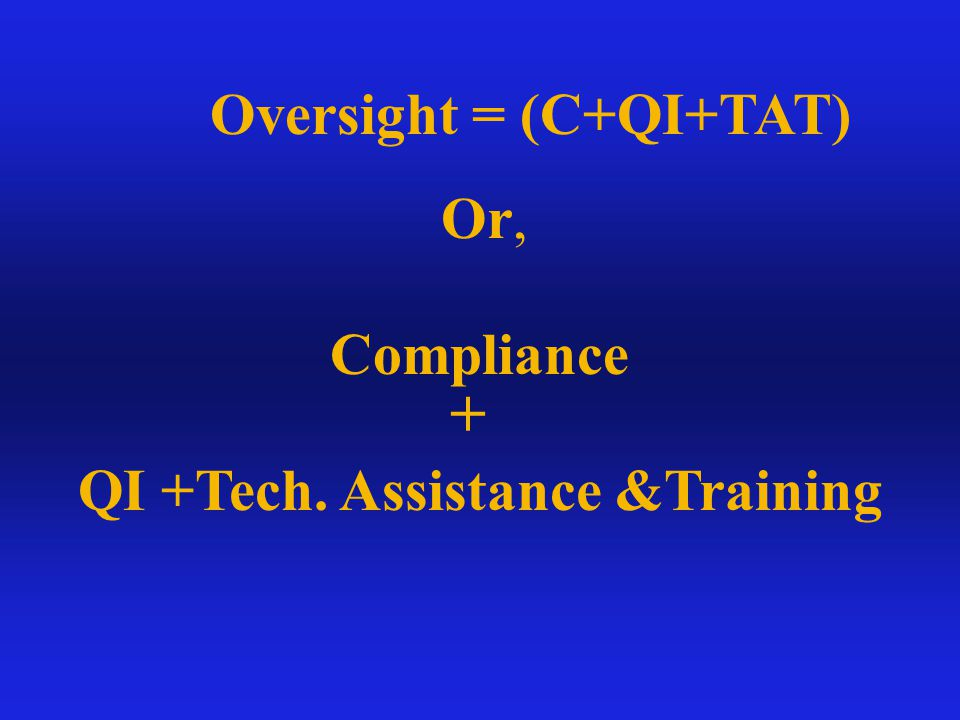 Combine Two Approaches COMPLIANCE 49 Page Protocol In/Out of Compliance Look at Policies & Procedures Interview Admin Staff Make Calls to Access Line Write Plan of Correction QI/TAT Hold 1 - 6 Focus Groups (10 - 60 Participants) Prepare draft reports to County Hold exit discussion Prepare final reports to County - 30 days TAT makes follow-up visits