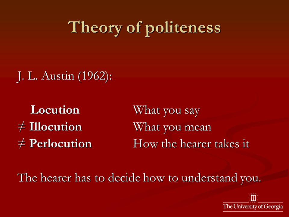 Theory of politeness J. L.