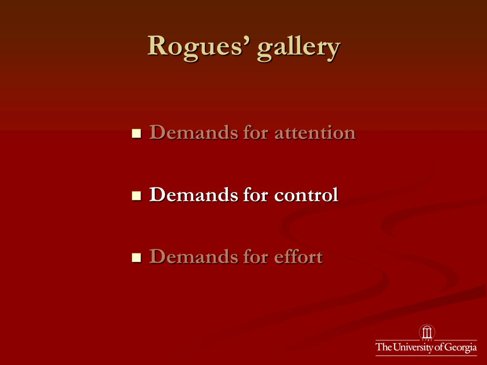 Rogues' gallery Demands for attention Demands for attention Demands for control Demands for control Demands for effort Demands for effort