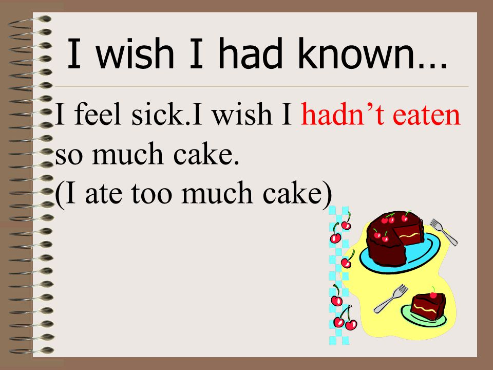 I wish I had known… I feel sick.I wish I hadn't eaten so much cake. (I ate too much cake)