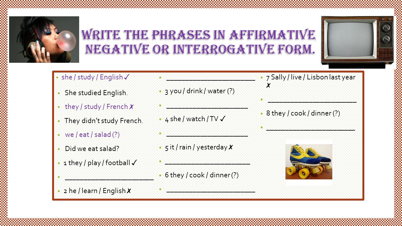 write the phrases in affirmative, negative or interrogative form. she / study / English ✓ She studied English. they / study / French ✗ They didn't stu