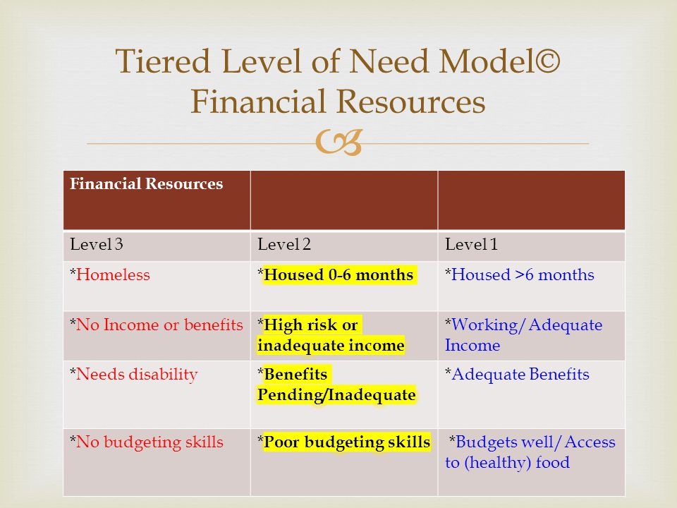  Financial Resources Level 3Level 2Level 1 *Homeless*Housed >6 months *No Income or benefits*Working/Adequate Income *Needs disability*Adequate Benef