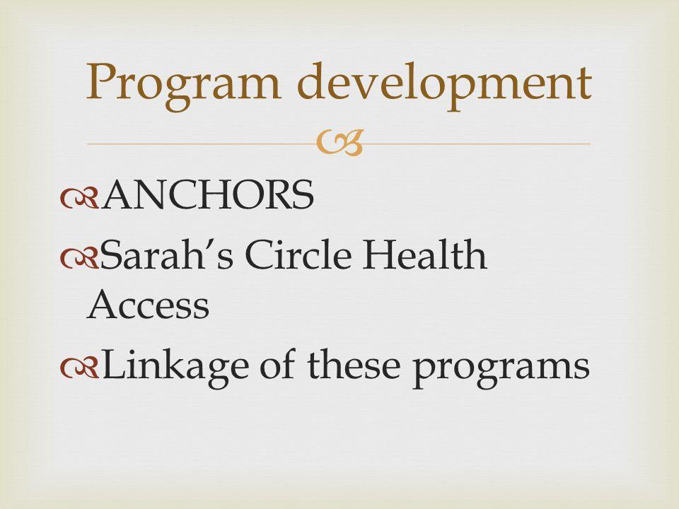   ANCHORS  Sarah's Circle Health Access  Linkage of these programs Program development