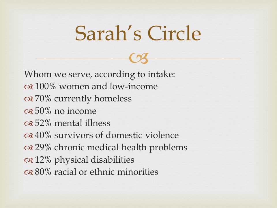  Whom we serve, according to intake:  100% women and low-income  70% currently homeless  50% no income  52% mental illness  40% survivors of dom