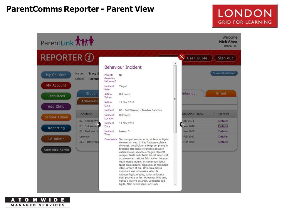 PSTN ParentComms Reporter - Parent View