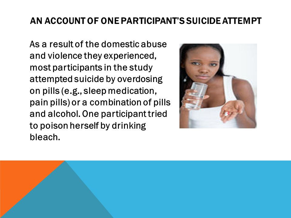 AN ACCOUNT OF ONE PARTICIPANT'S SUICIDE ATTEMPT As a result of the domestic abuse and violence they experienced, most participants in the study attemp