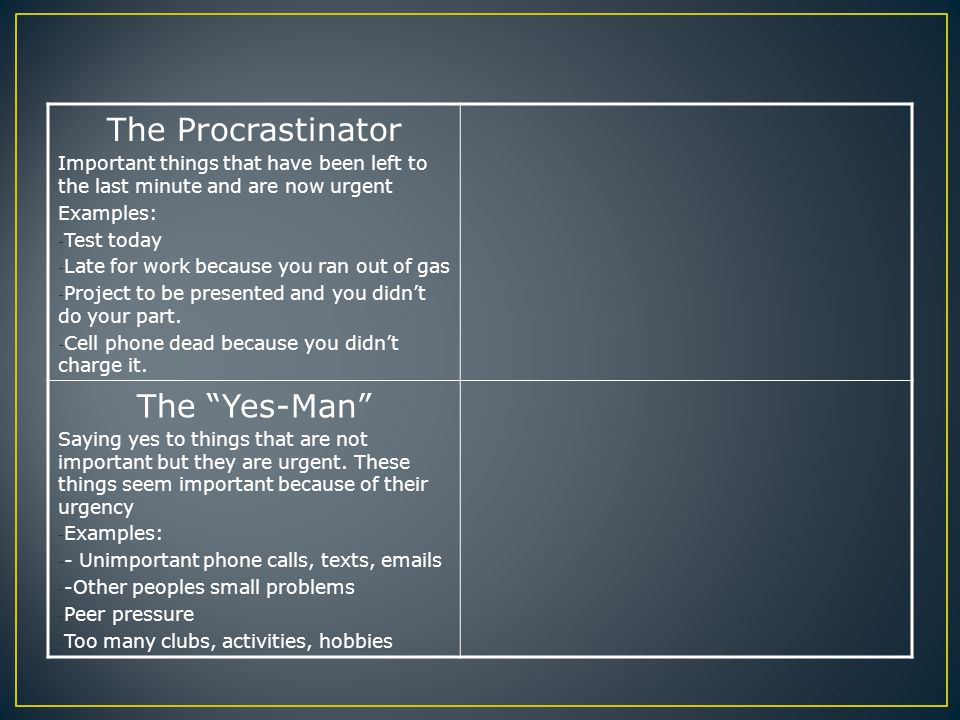 The Procrastinator Important things that have been left to the last minute and are now urgent Examples: - Test today - Late for work because you ran out of gas - Project to be presented and you didn't do your part.