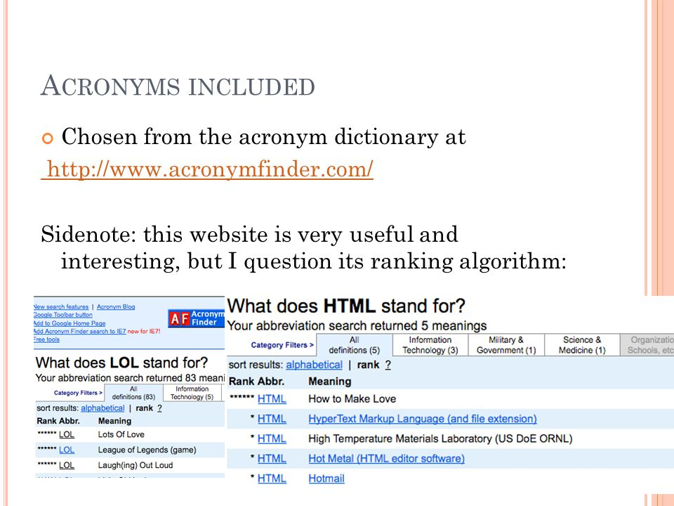 A CRONYMS INCLUDED Chosen from the acronym dictionary at http://www.acronymfinder.com/ Sidenote: this website is very useful and interesting, but I question its ranking algorithm: