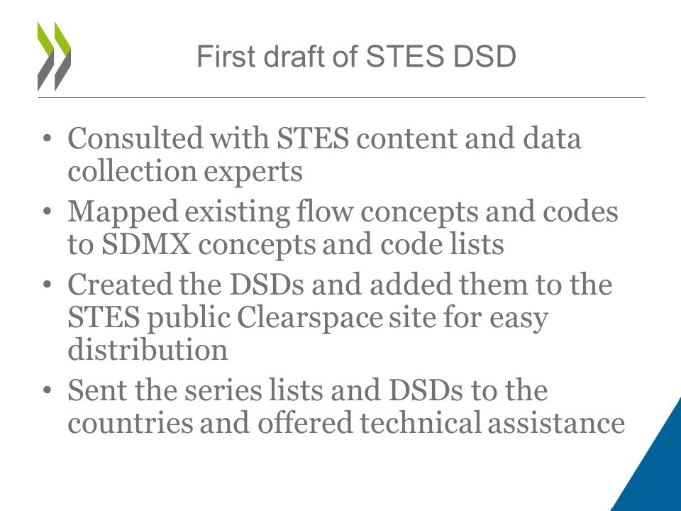 Consulted with STES content and data collection experts Mapped existing flow concepts and codes to SDMX concepts and code lists Created the DSDs and added them to the STES public Clearspace site for easy distribution Sent the series lists and DSDs to the countries and offered technical assistance First draft of STES DSD
