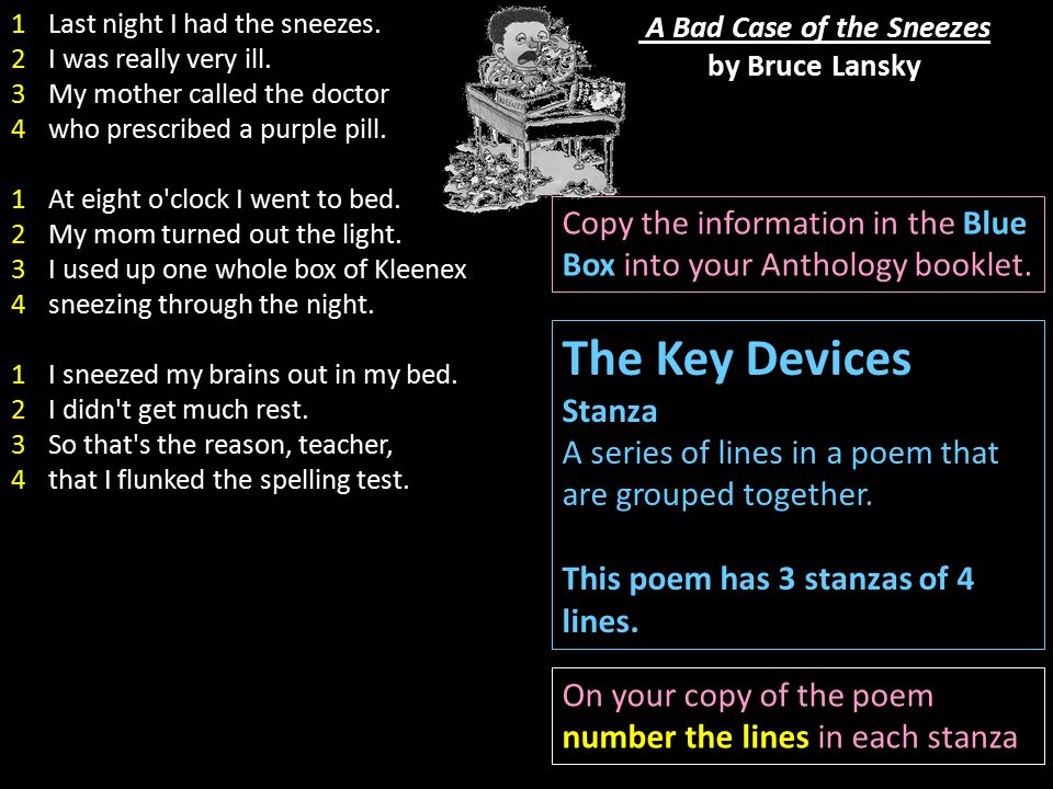 A Bad Case of the Sneezes by Bruce Lansky The Key Devices Stanza A series of lines in a poem that are grouped together. This poem has 3 stanzas of 4 l