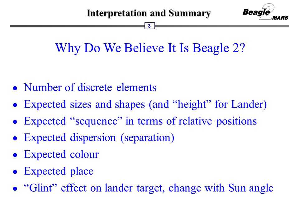 "Interpretation and Summary 3 Why Do We Believe It Is Beagle 2? Number of discrete elements Expected sizes and shapes (and ""height"" for Lander) Expecte"
