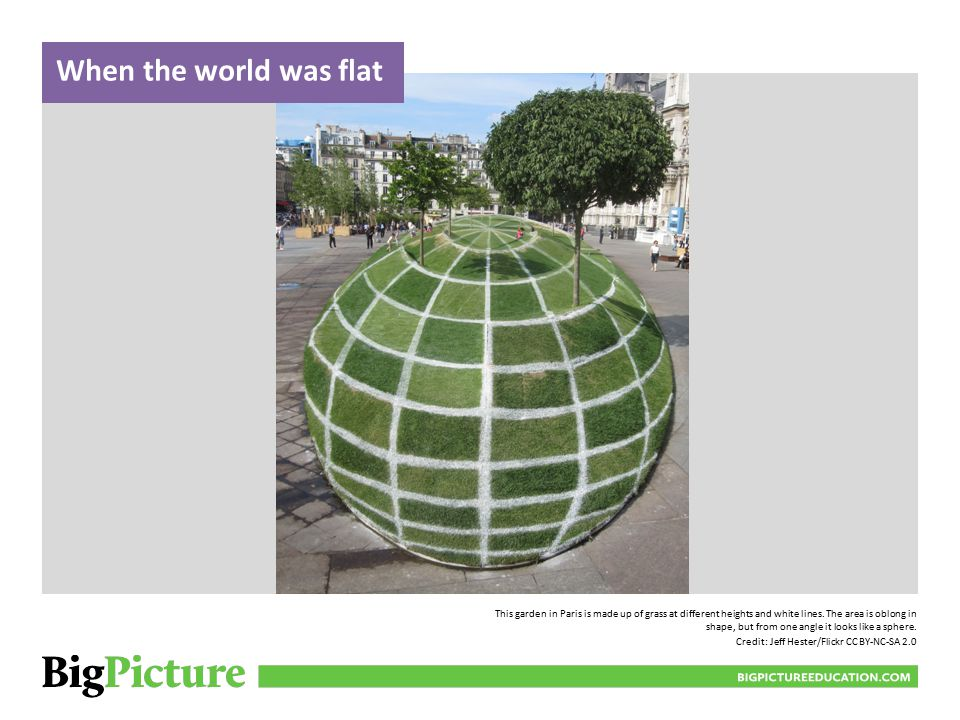 This garden in Paris is made up of grass at different heights and white lines.